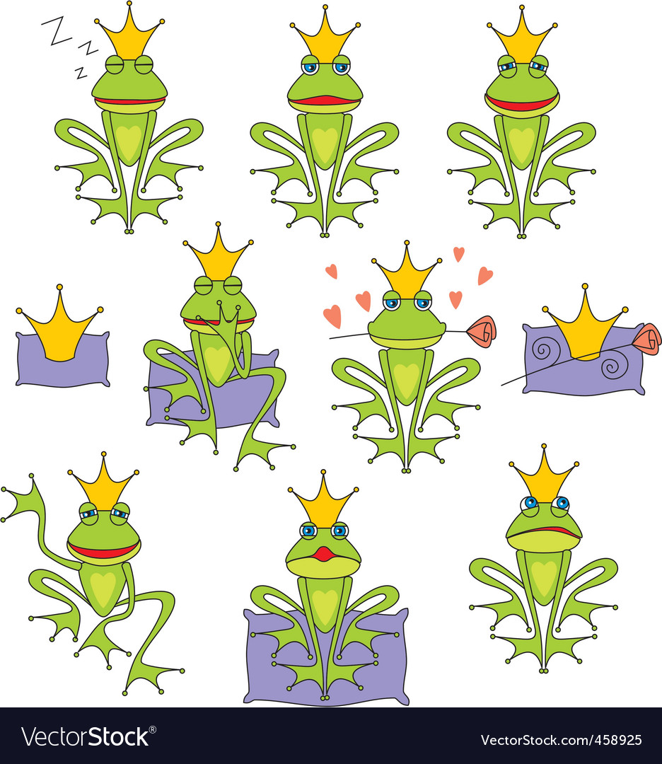 Set emotional expression frog vector | Price: 1 Credit (USD $1)