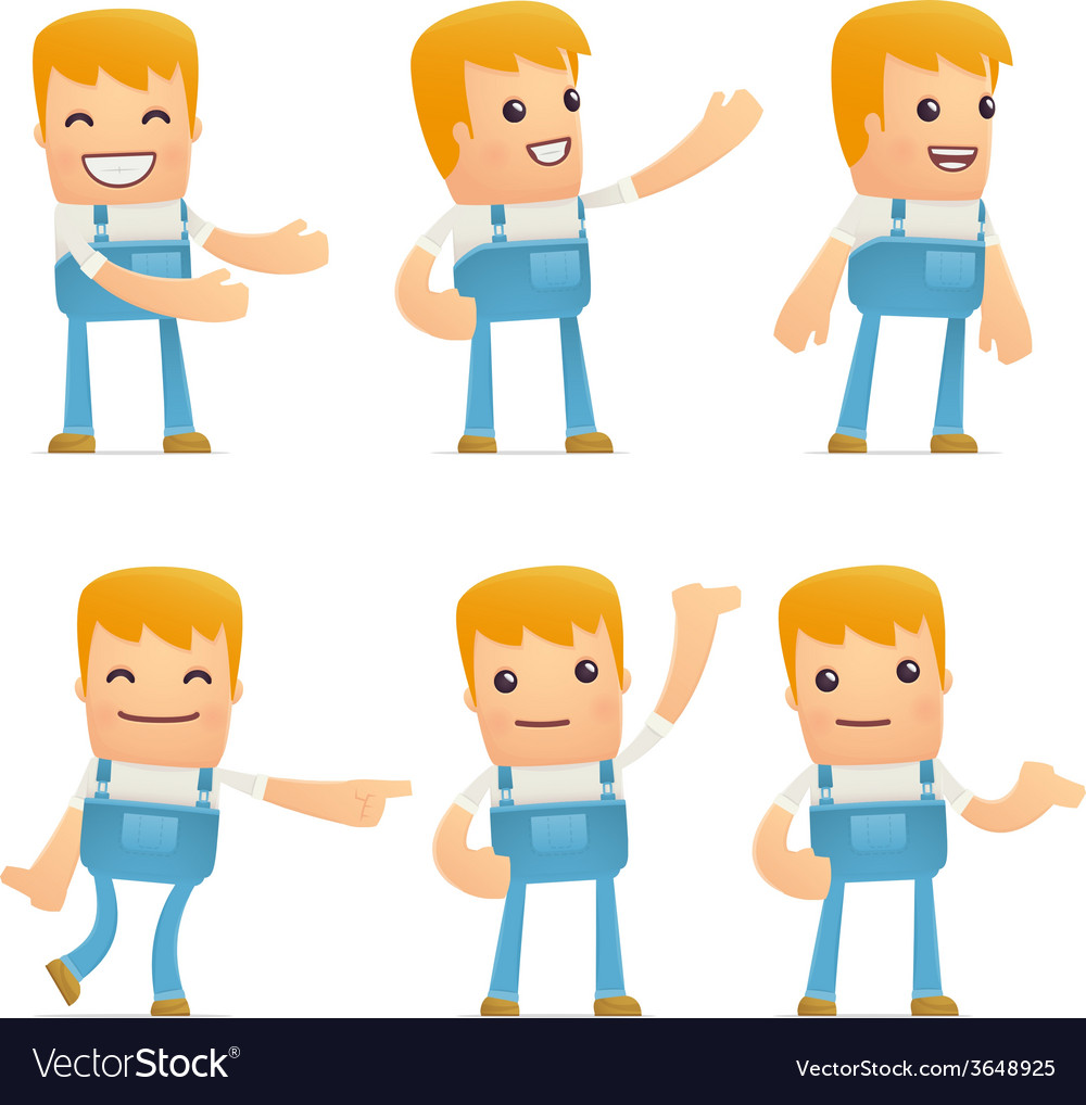 Set of mechanic character in different poses vector | Price: 3 Credit (USD $3)
