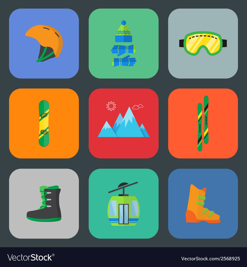 Ski and snowboard flat icon set vector | Price: 1 Credit (USD $1)