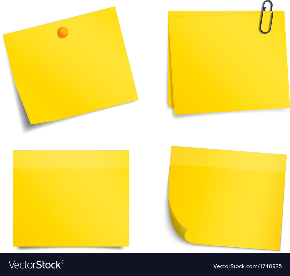 Yellow notice stickers on white background vector | Price: 1 Credit (USD $1)