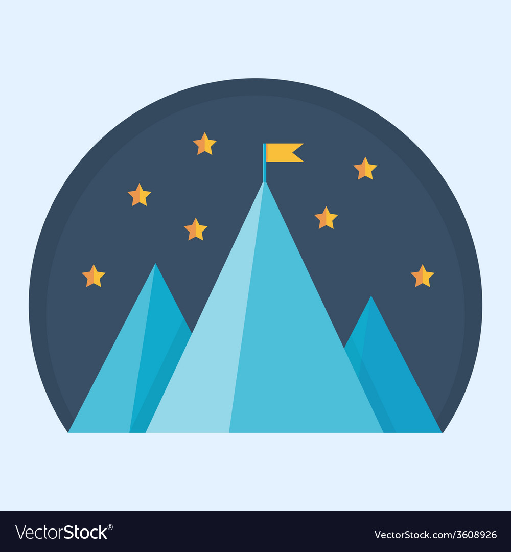 Blue mountain peak with flag vector | Price: 1 Credit (USD $1)