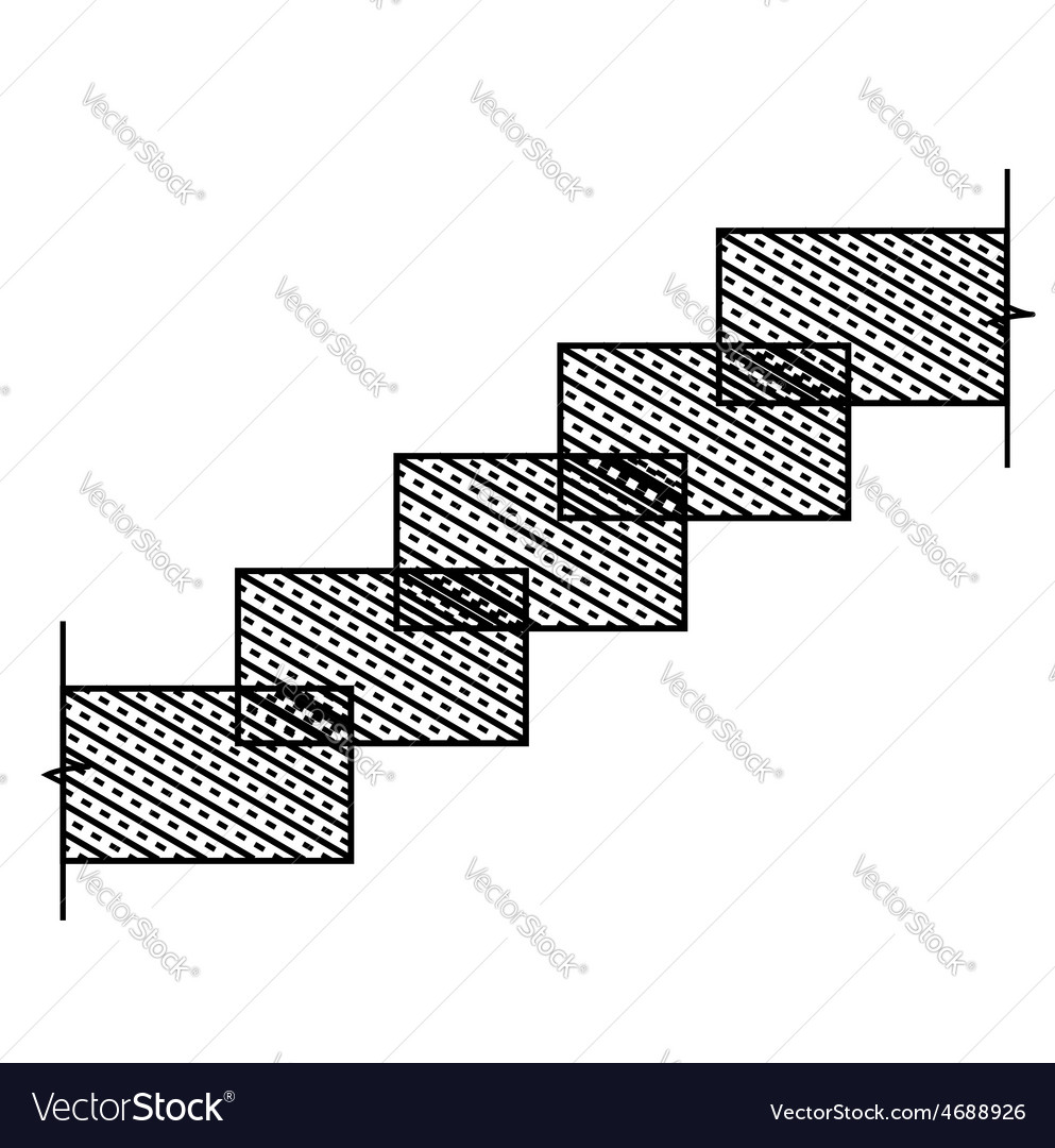 Diagram of rectangular stone stairs vector | Price: 1 Credit (USD $1)