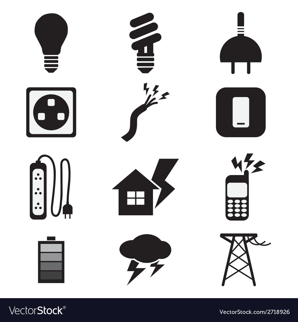 Electricity power black icons set vector | Price: 1 Credit (USD $1)