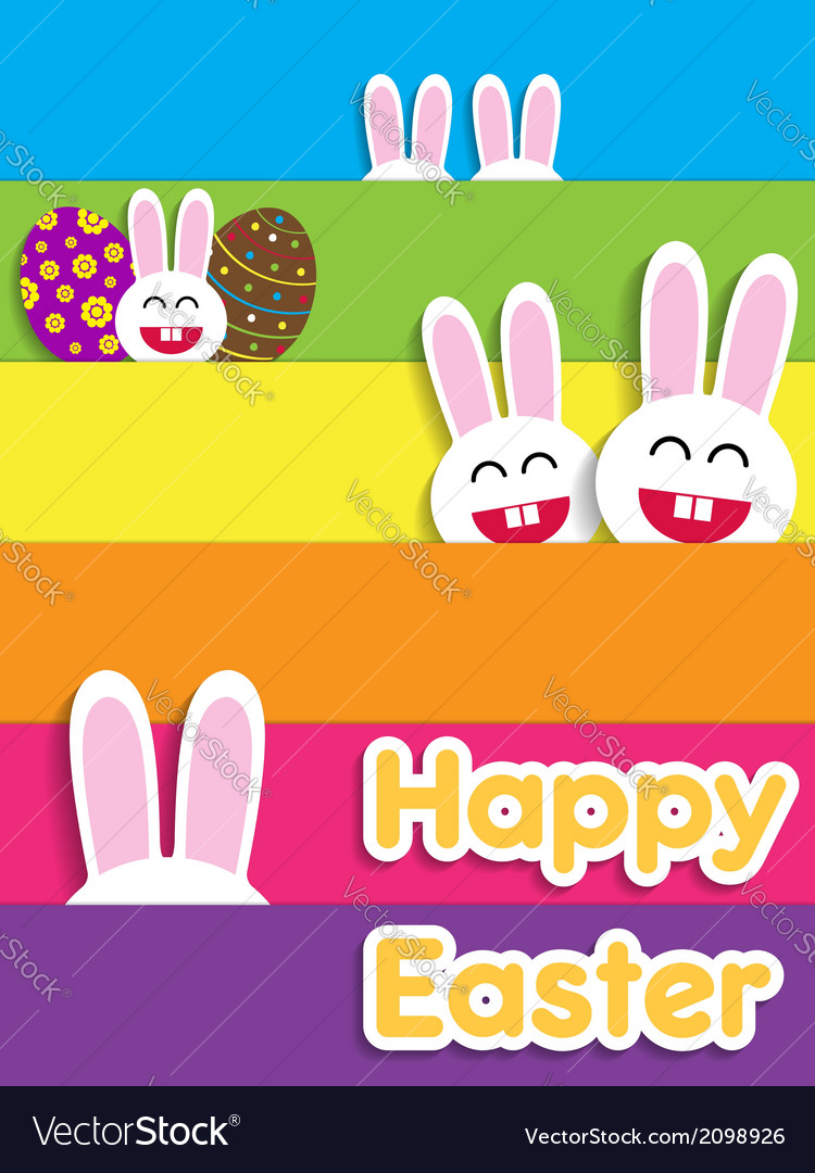 Funny happy easter card with bunnies vector | Price: 1 Credit (USD $1)
