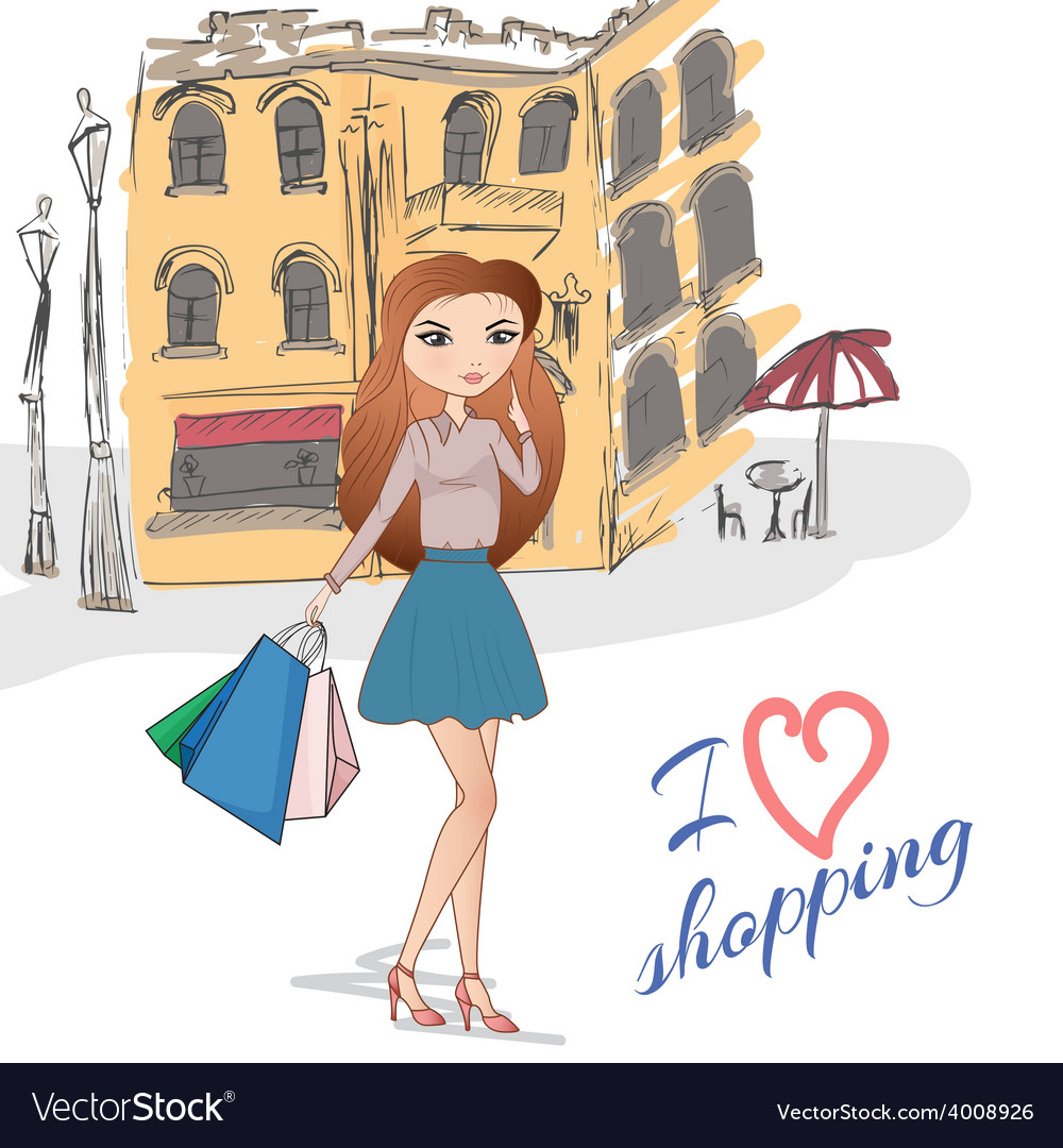 Girl with shopping bags on the street vector   Price: 1 Credit (USD $1)
