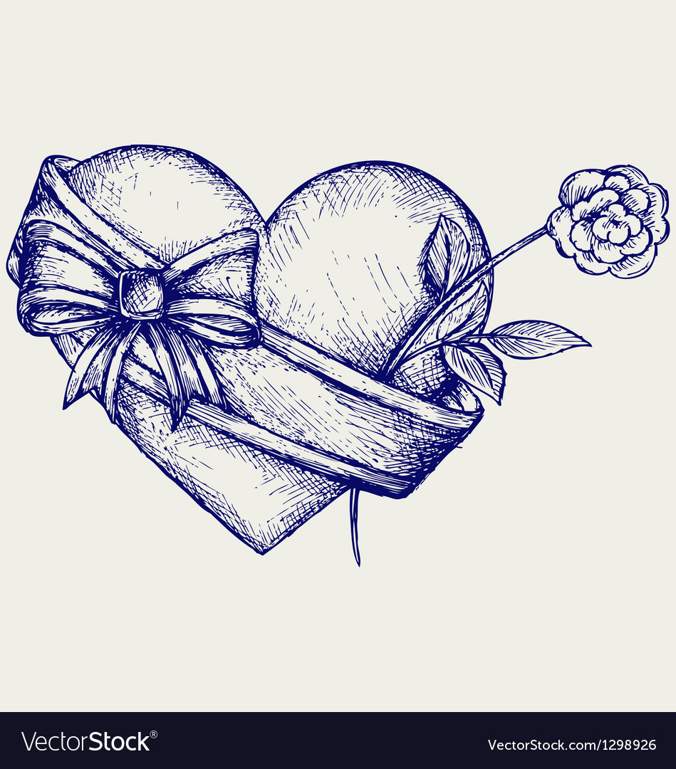 Heart with ribbon and flower vector | Price: 1 Credit (USD $1)