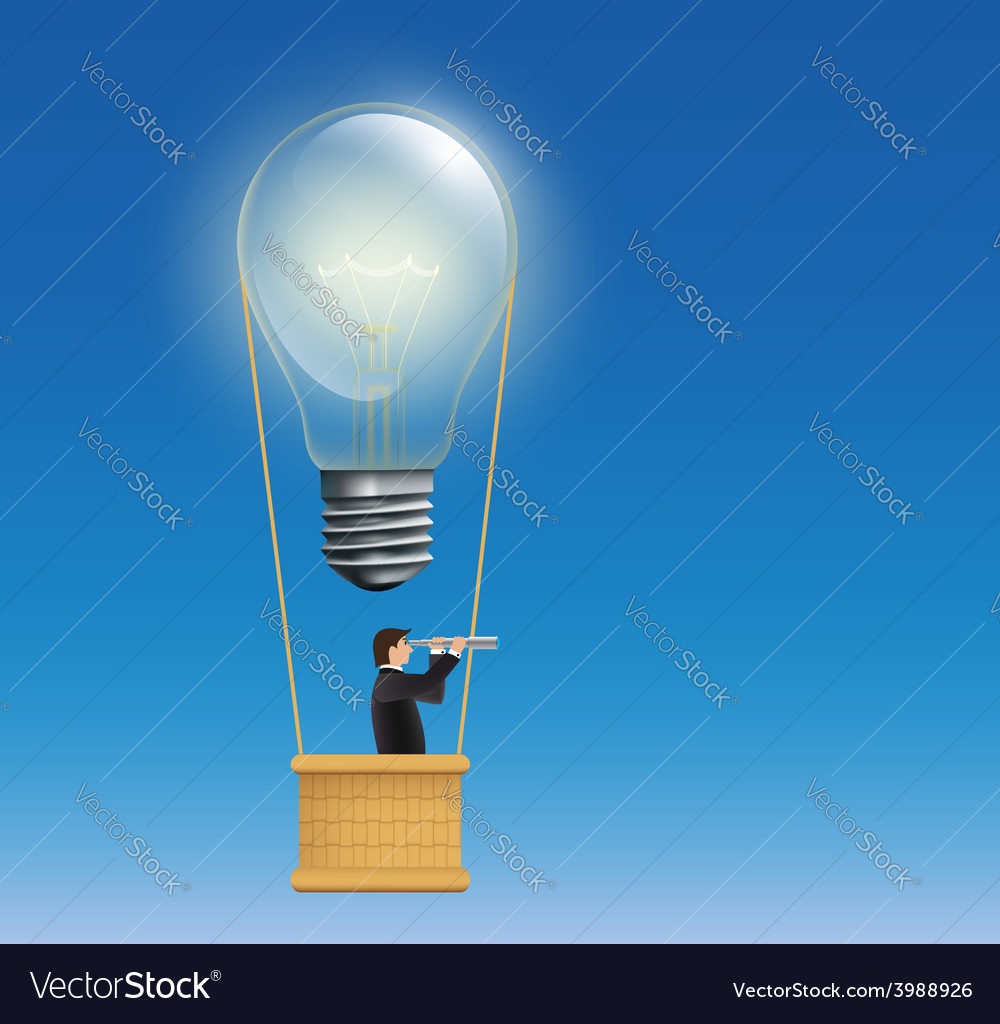 Man in a hot air balloon in the form of an vector