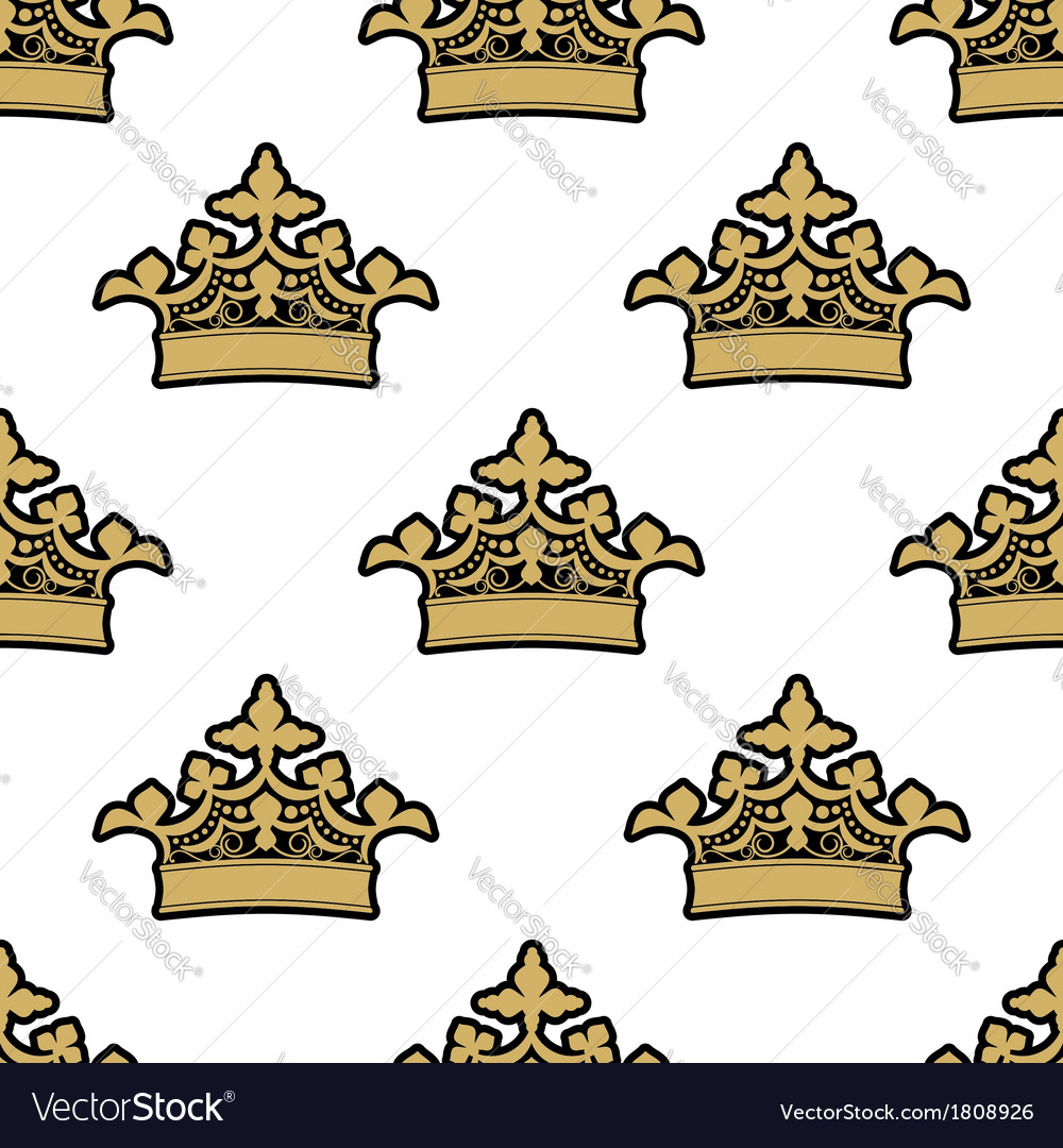 Seamless pattern of golden royal crowns vector | Price: 1 Credit (USD $1)