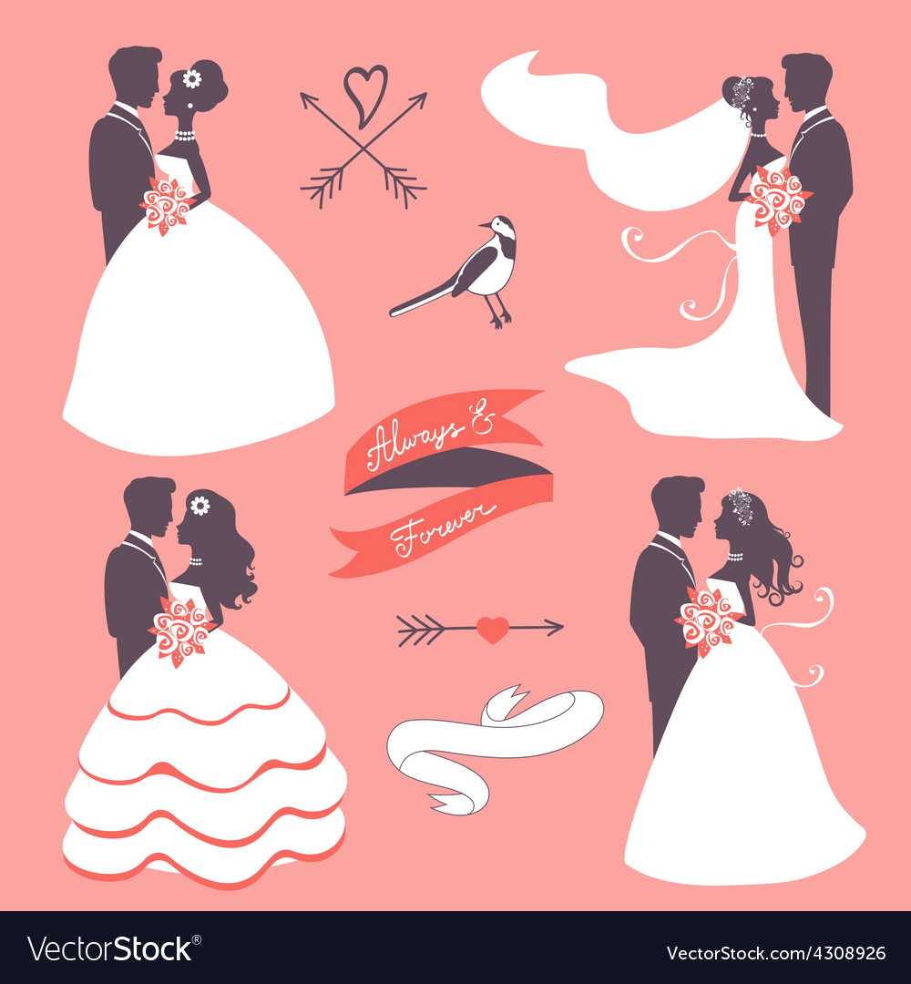 Set of elegant wedding couples in silhouette vector | Price: 1 Credit (USD $1)