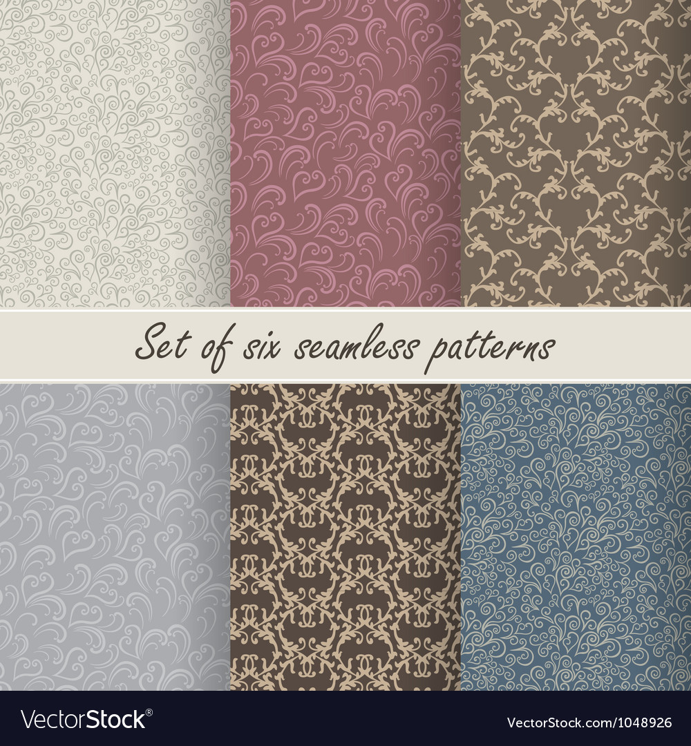 Set of six seamless patterns vector   Price: 1 Credit (USD $1)