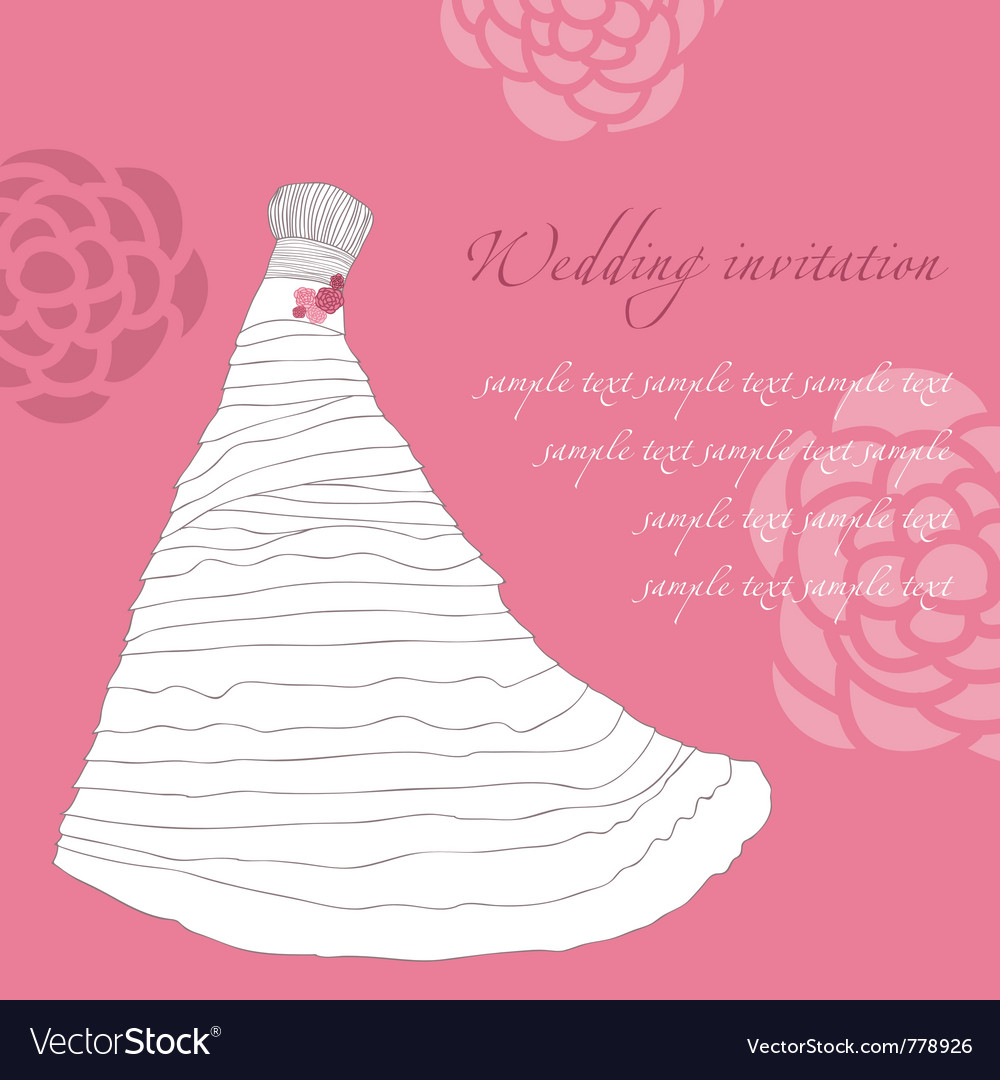 Wedding dress invitation card vector | Price: 1 Credit (USD $1)