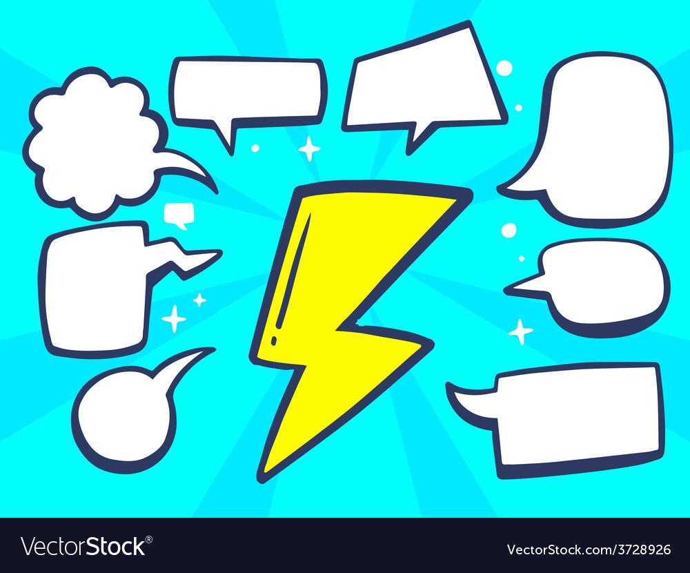 Yellow lightning with speech comics bubbl vector | Price: 1 Credit (USD $1)