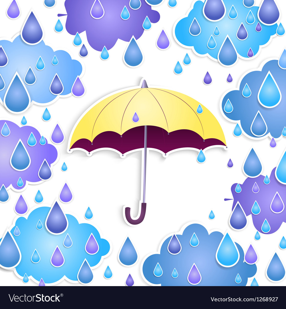 Background with a yellow umbrella and drops vector | Price: 1 Credit (USD $1)