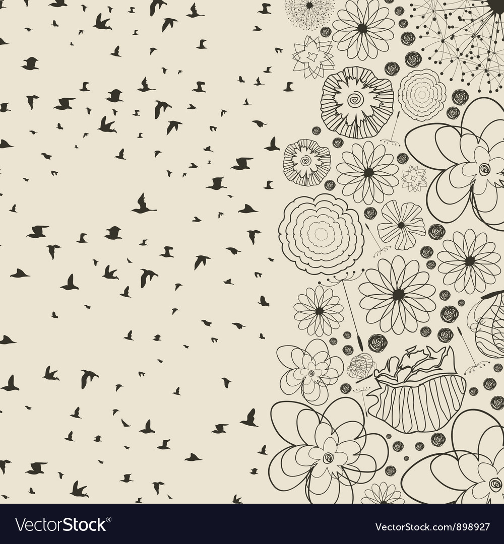 Birds from a flower vector | Price: 1 Credit (USD $1)