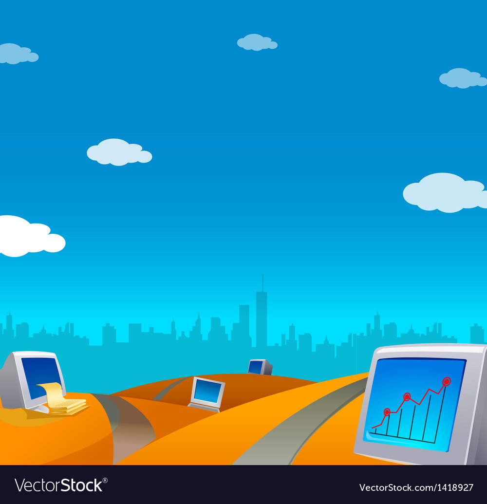 Computers on landscape skyline vector | Price: 1 Credit (USD $1)