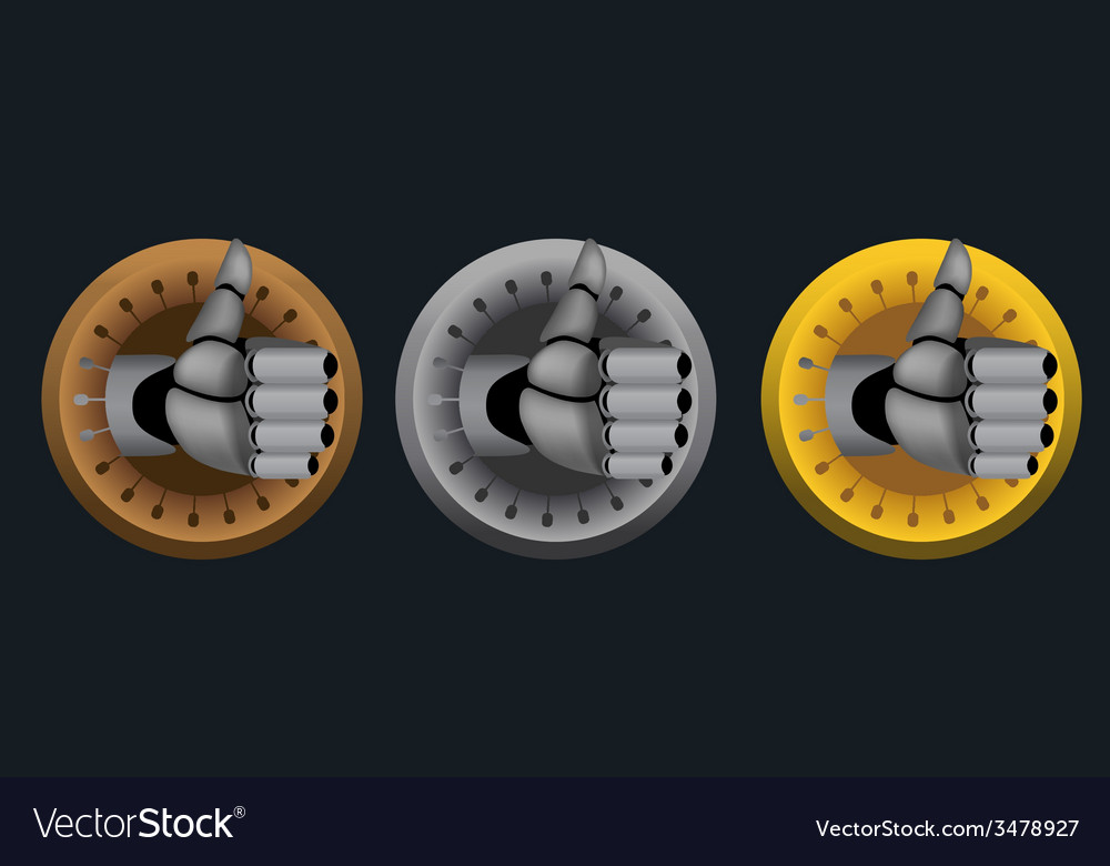 Cyborg thumb up rating icons on black vector | Price: 1 Credit (USD $1)
