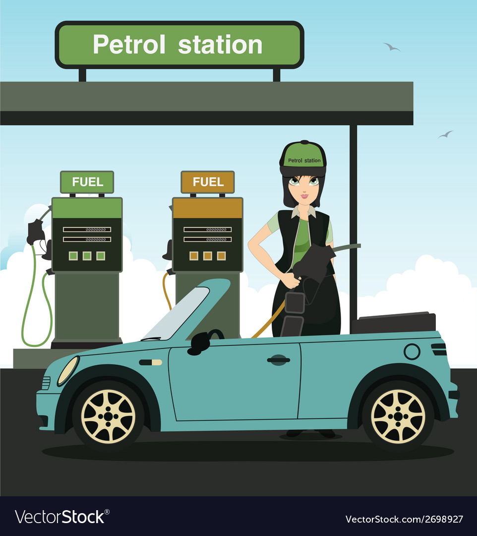Employees refueling vector | Price: 1 Credit (USD $1)