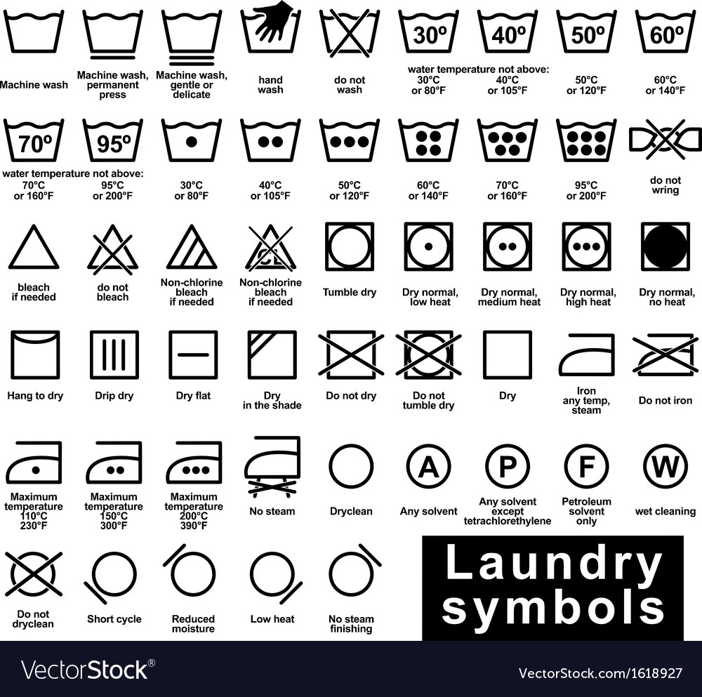 Icon set of laundry symbols vector | Price: 1 Credit (USD $1)