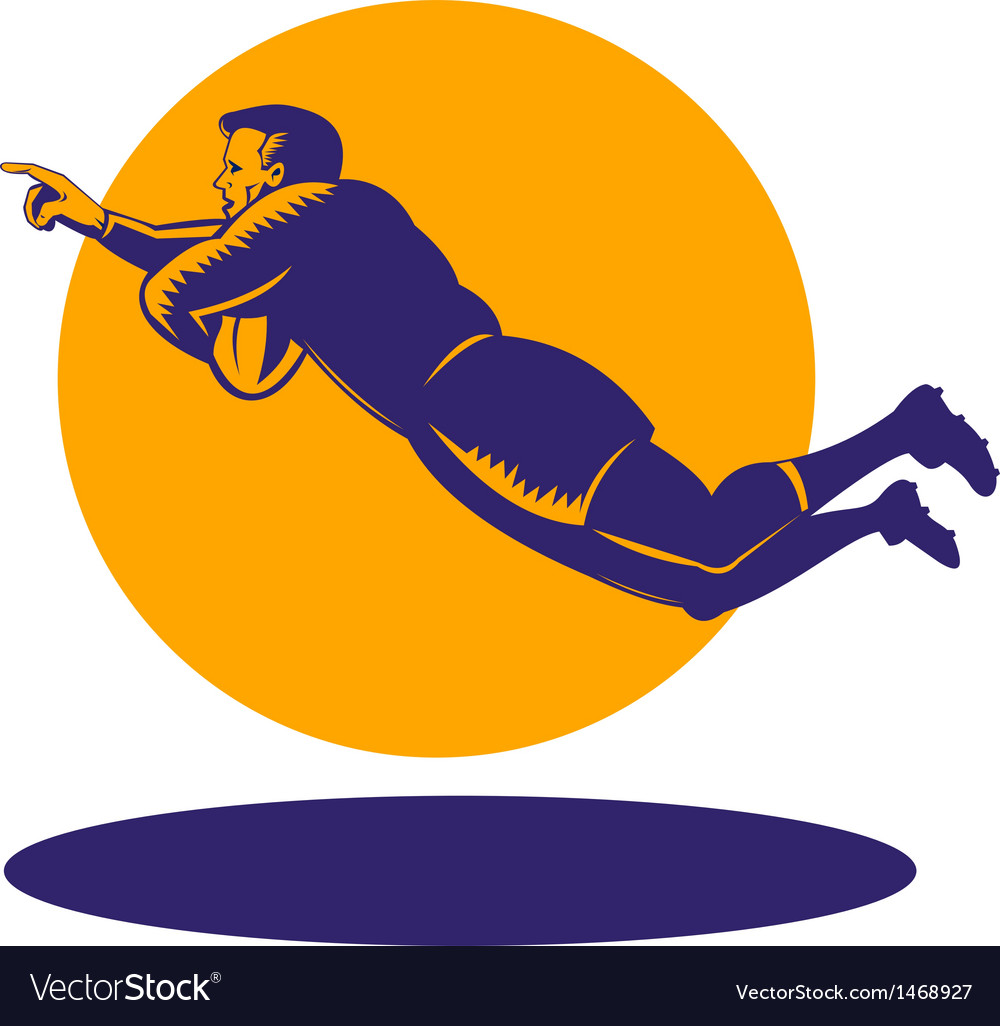 Rugby player diving to score a try vector | Price: 1 Credit (USD $1)