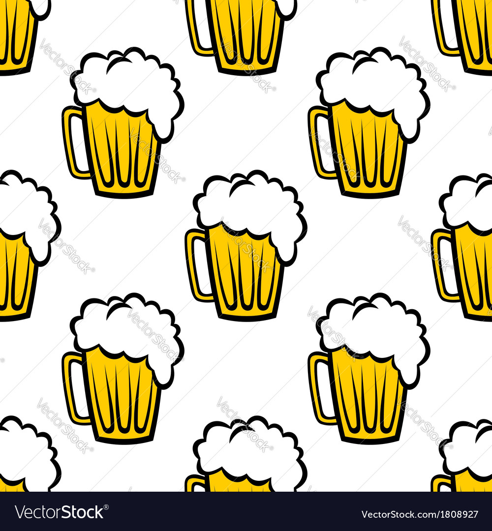 Seamless pattern with tankards of frothy beer vector | Price: 1 Credit (USD $1)