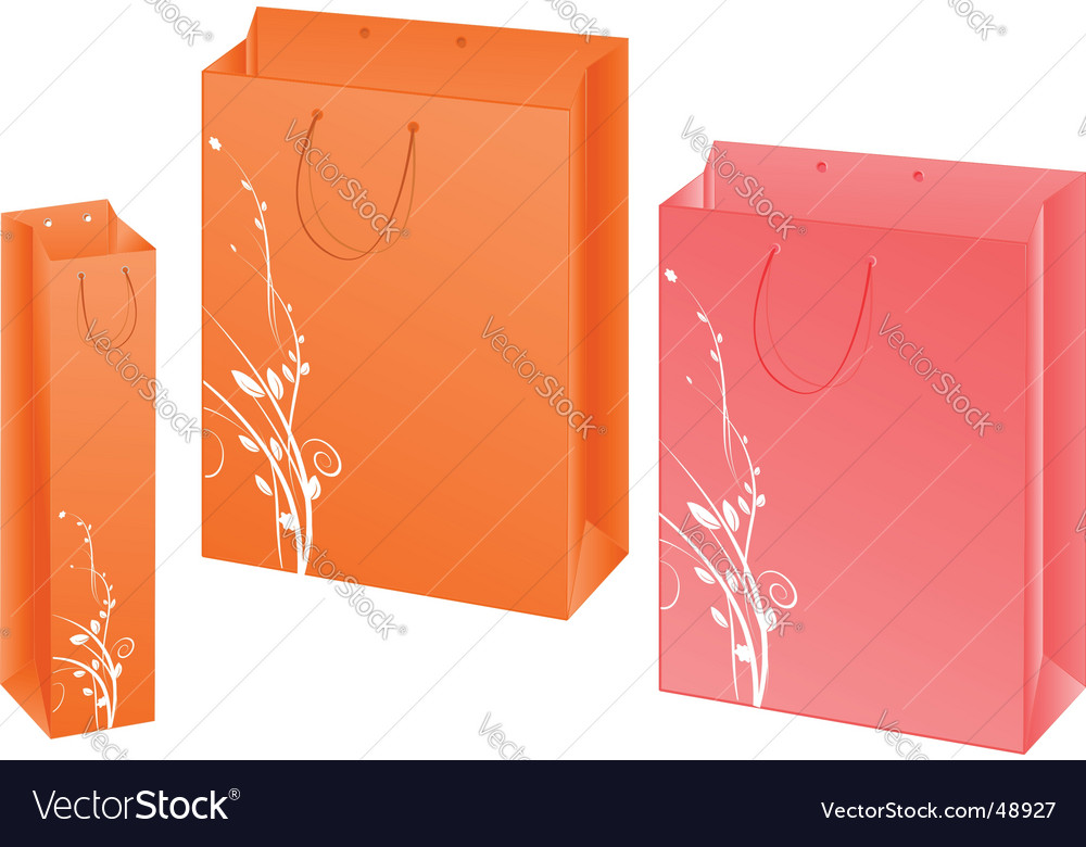 Set of three paper bags vector | Price: 1 Credit (USD $1)