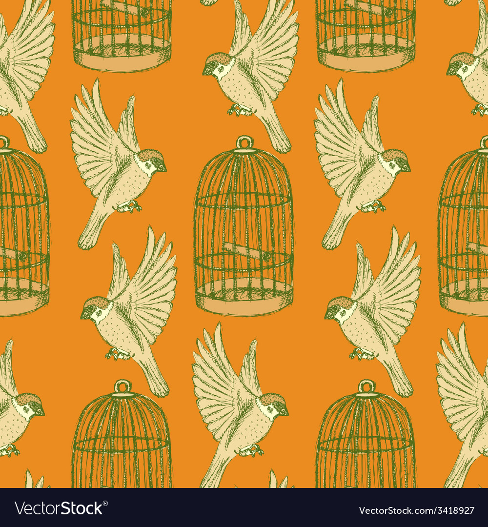 Sketch bird and cage seamless pattern vector | Price: 1 Credit (USD $1)