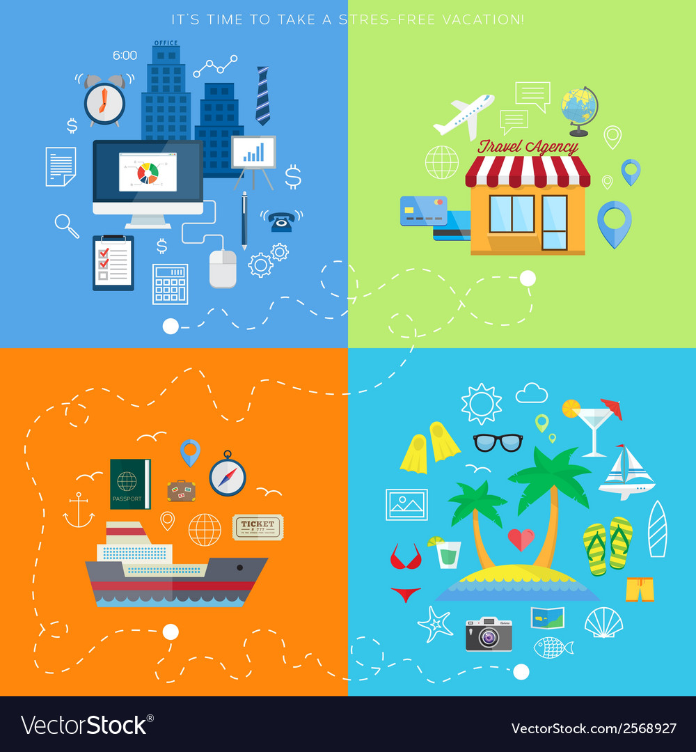 Summer vacation plan abstract background with flat vector | Price: 1 Credit (USD $1)