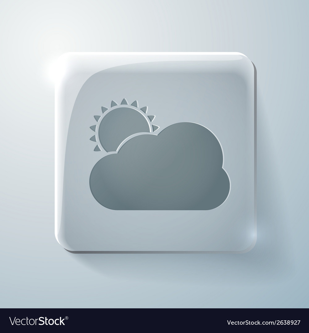 Sun behind the cloud glass square icon vector | Price: 1 Credit (USD $1)