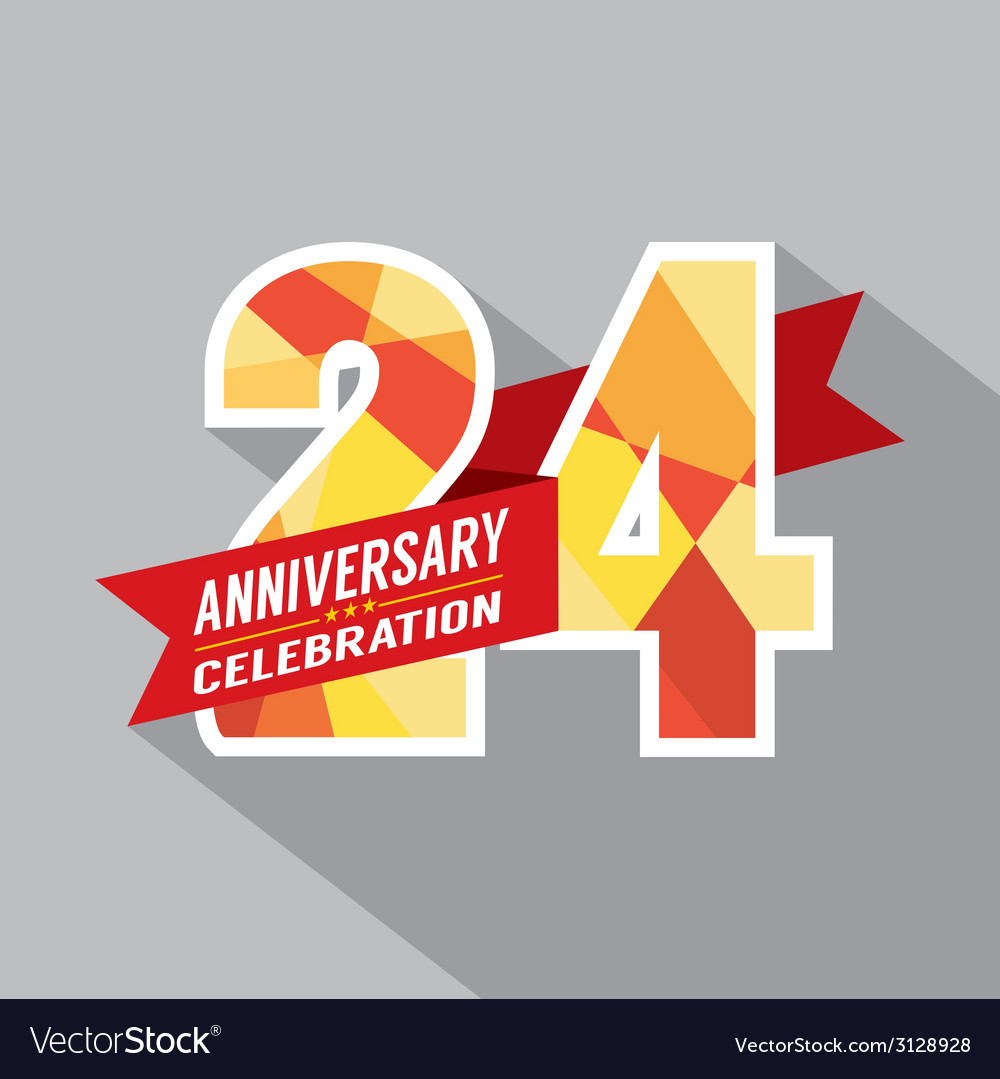 24th years anniversary celebration design vector