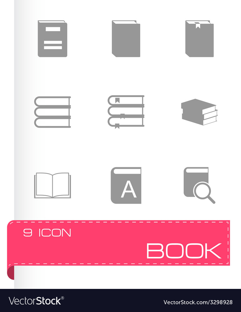 Black book icons set vector | Price: 1 Credit (USD $1)
