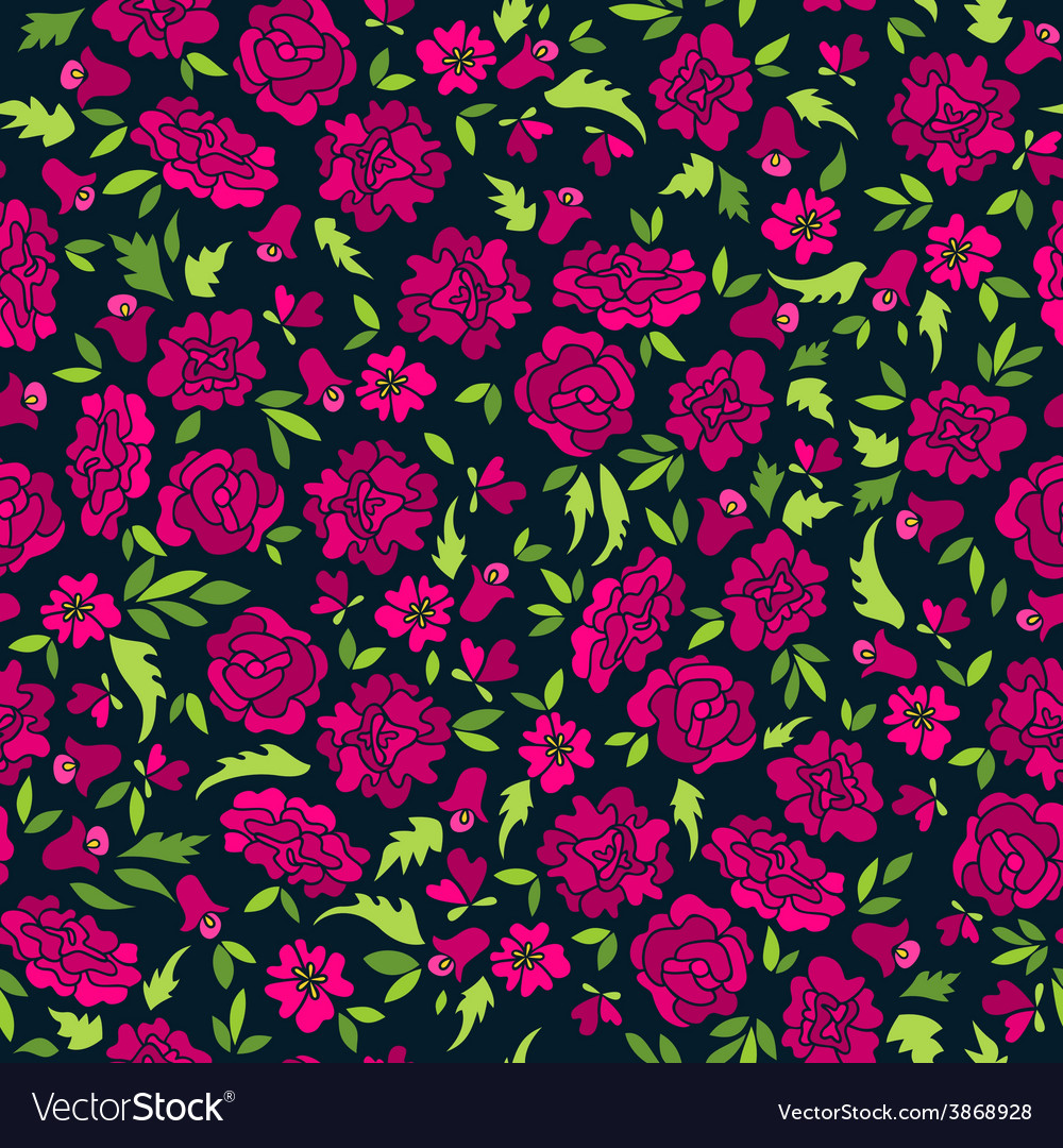 Dark pattern with abstract flowers vector | Price: 1 Credit (USD $1)