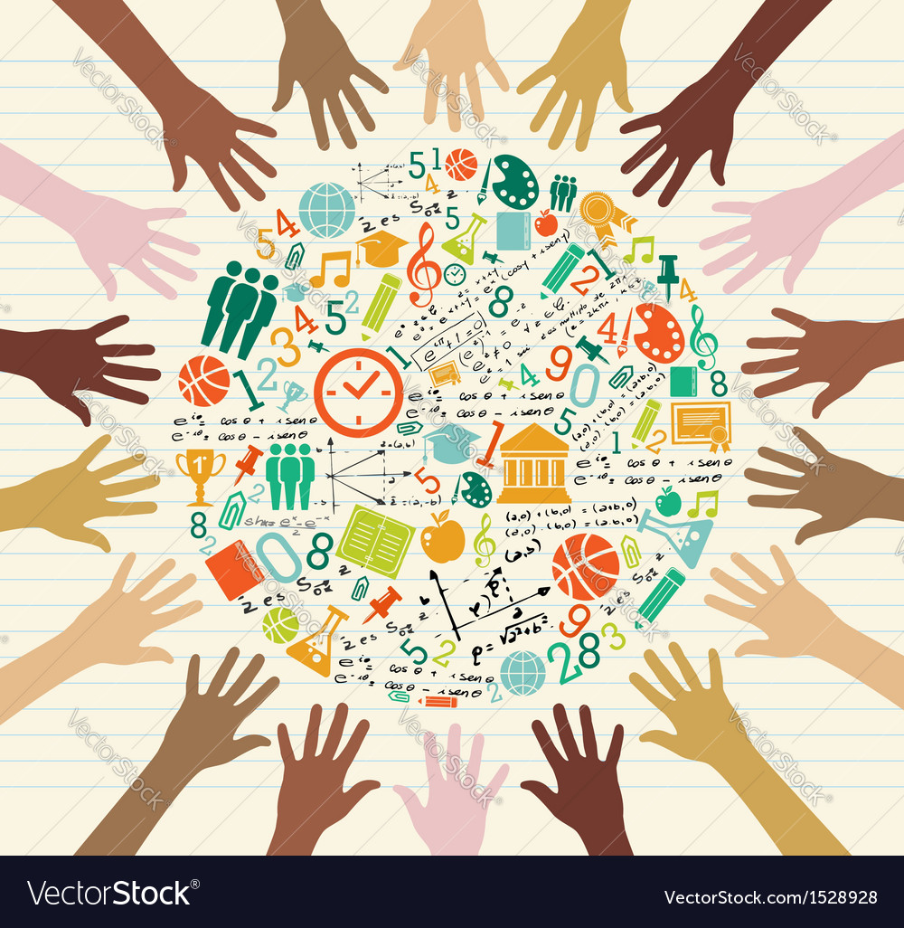 Education global icons human hands vector | Price: 1 Credit (USD $1)