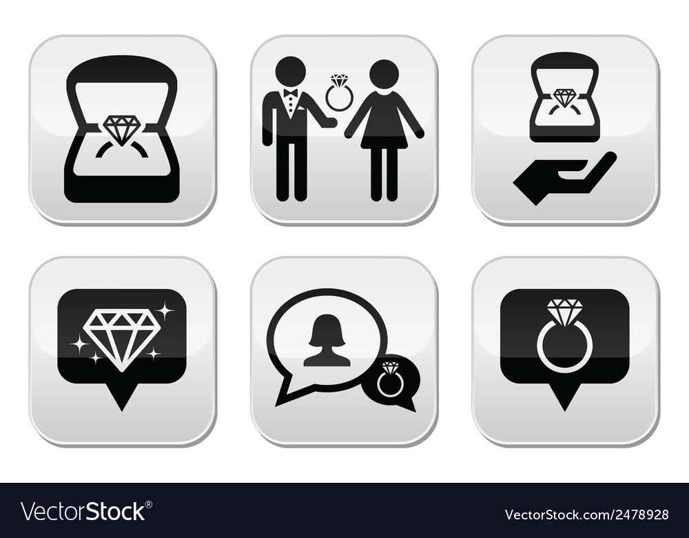 Engagement diamond ring in box buttons set vector | Price: 1 Credit (USD $1)
