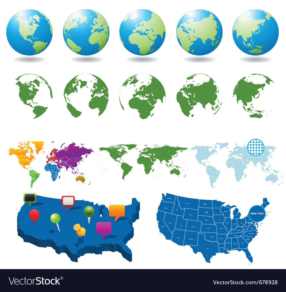 Globes and maps collection vector | Price: 1 Credit (USD $1)