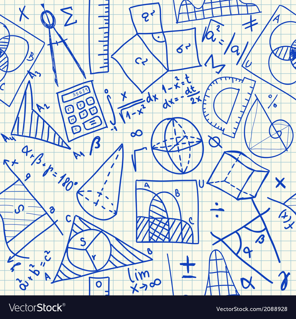 Mathematical doodles seamless pattern vector | Price: 1 Credit (USD $1)