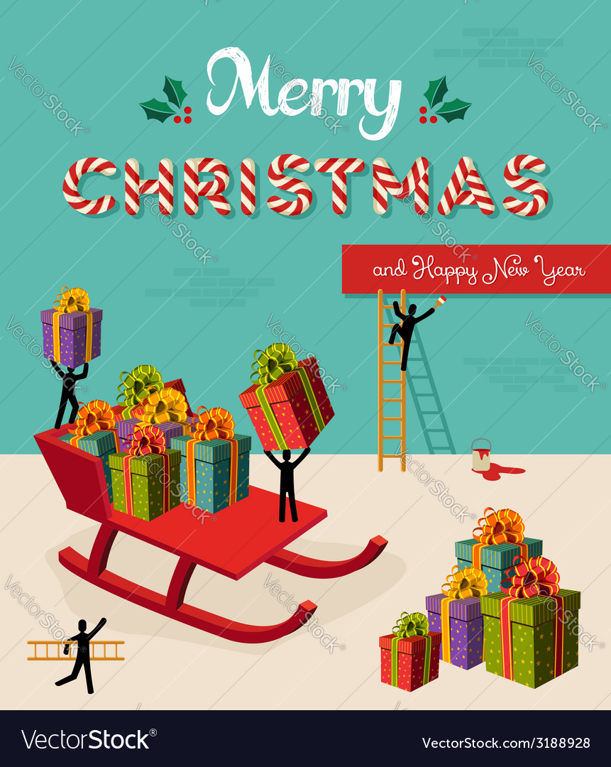Merry christmas creative teamwork concept vector | Price: 1 Credit (USD $1)
