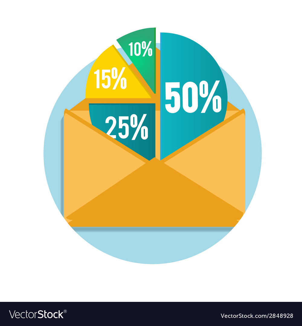 Open envelope with business pie chart vector | Price: 1 Credit (USD $1)