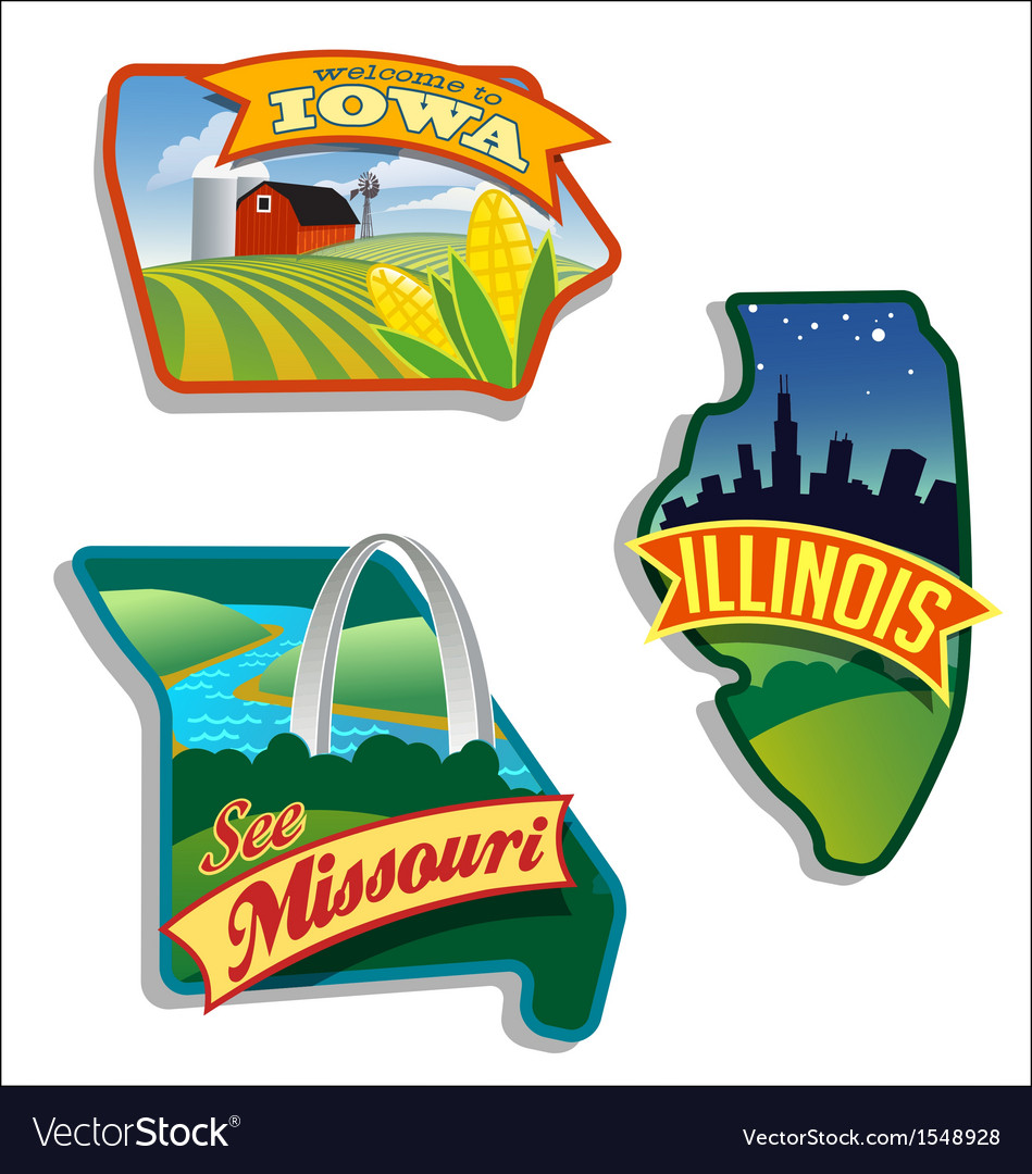 Retro of illinois missouri iowa vector | Price: 3 Credit (USD $3)