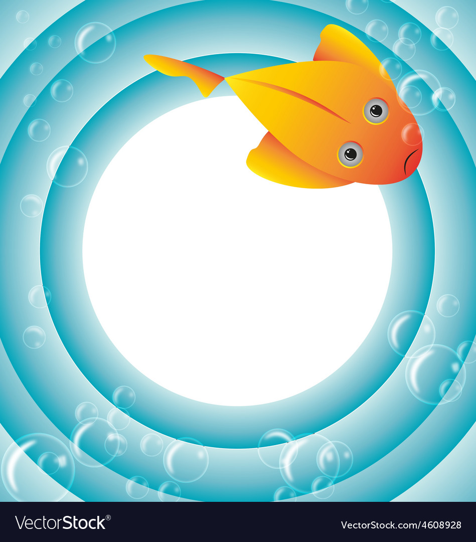 Sea frame with fish and bubbles vector | Price: 1 Credit (USD $1)