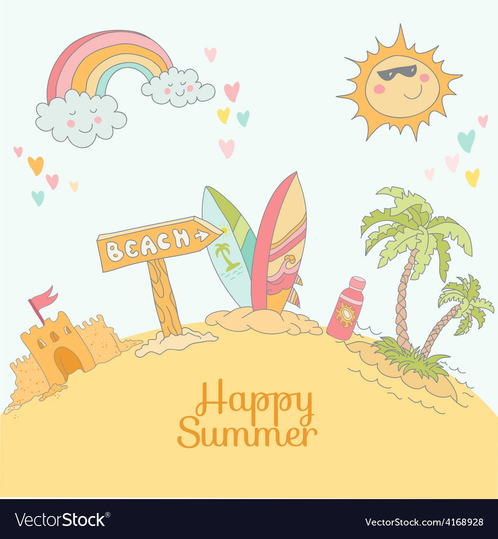Summer beach card  with place for your text vector