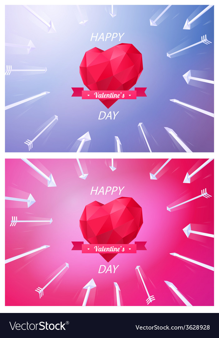 Target of red origami heart low-poly colorful vector | Price: 1 Credit (USD $1)