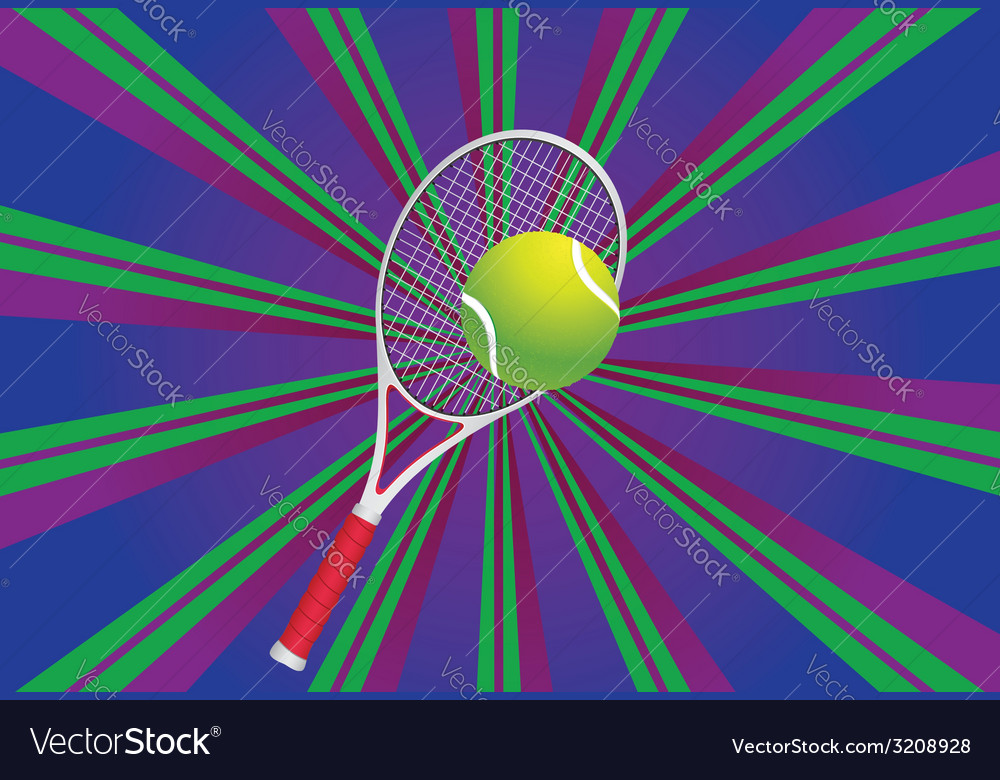 Tennis ball and racket3 vector | Price: 1 Credit (USD $1)