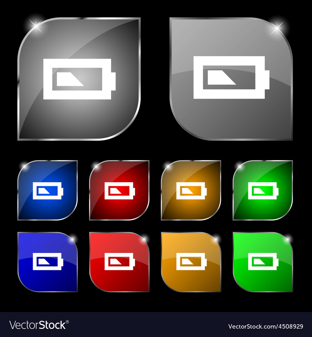 Battery half level icon sign set of ten colorful vector | Price: 1 Credit (USD $1)