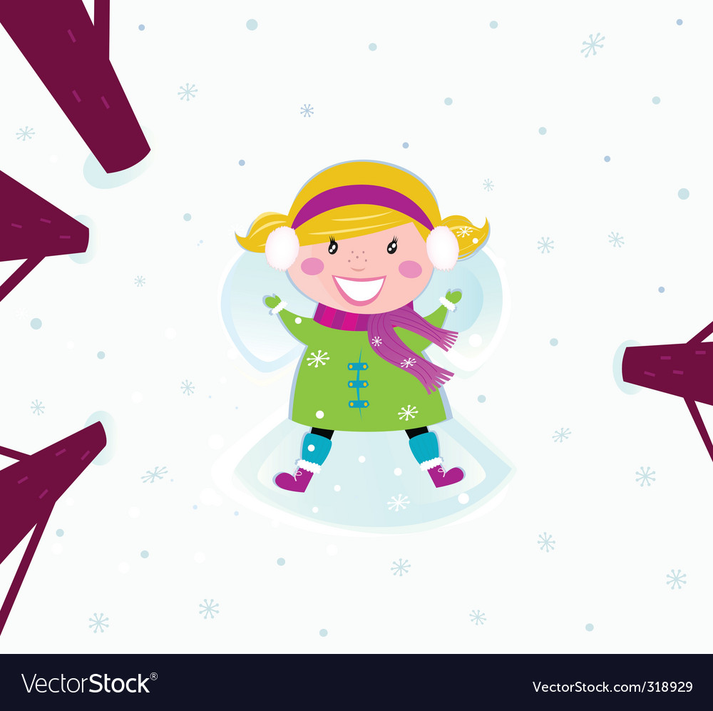 Christmas happy girl in snow vector | Price: 3 Credit (USD $3)