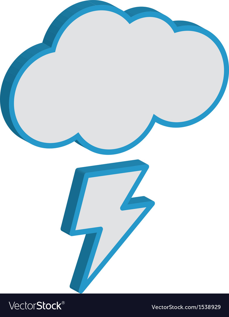 Cloud with lightning weather forecast icon eps10 vector | Price: 1 Credit (USD $1)