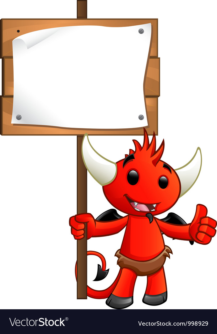 Devil character holding a sign vector | Price: 1 Credit (USD $1)