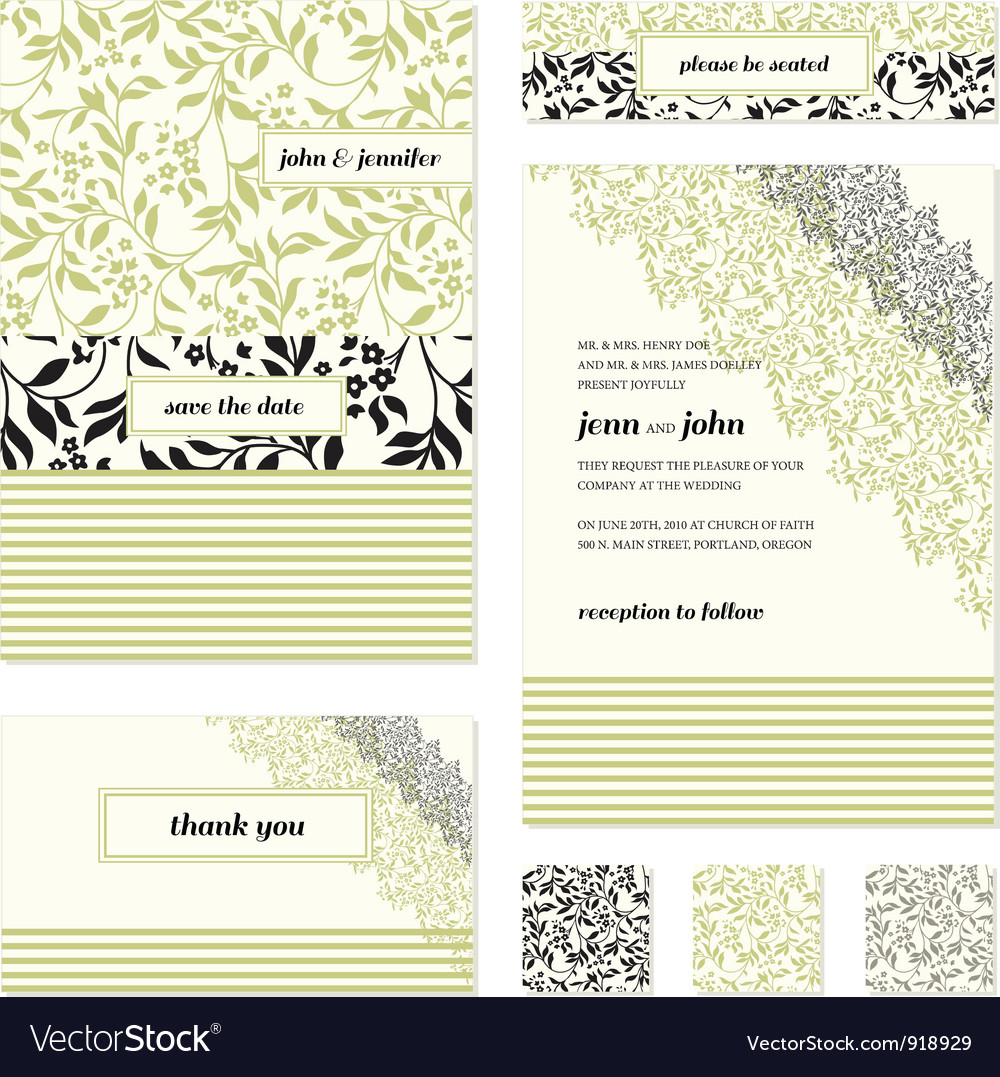 Floral invite stationary vector | Price: 1 Credit (USD $1)