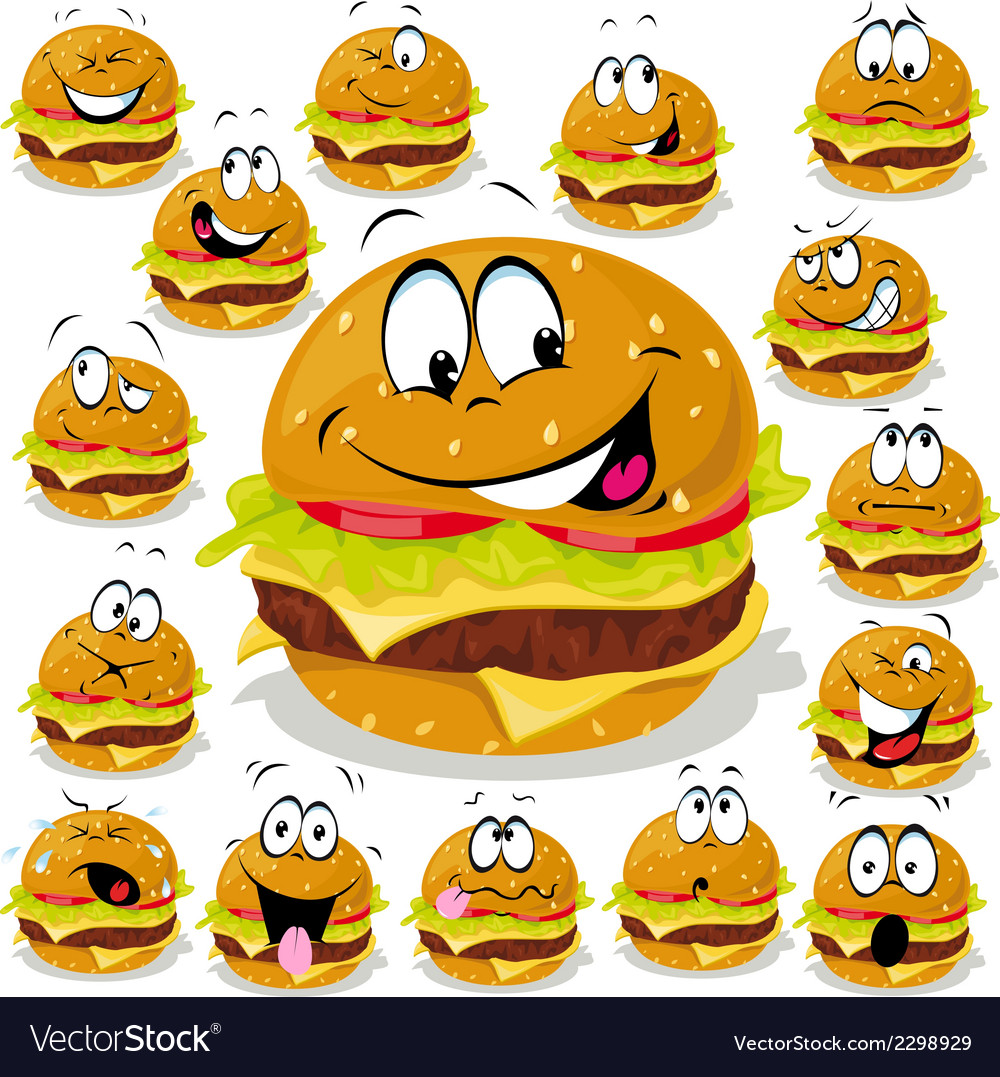 Hamburger cartoon with many expressions vector | Price: 1 Credit (USD $1)