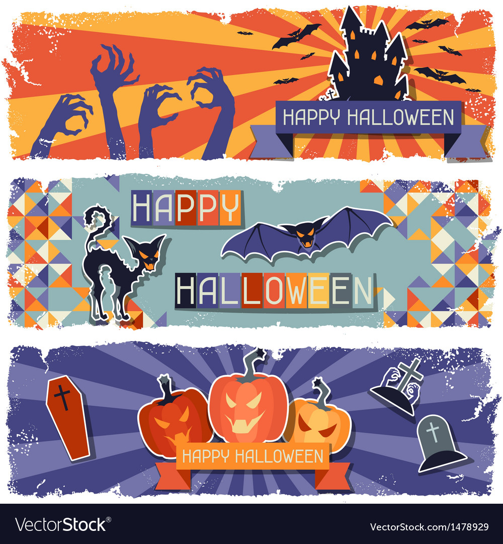 Happy halloween grungy retro horizontal banners vector | Price: 3 Credit (USD $3)