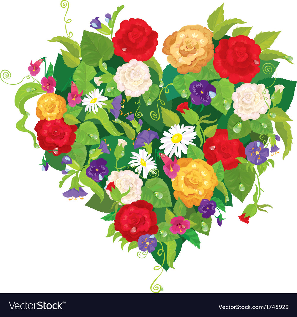 Heart shape is made of beautiful flowers - roses vector | Price: 1 Credit (USD $1)